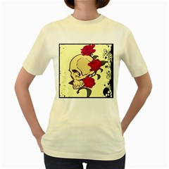 Death rose  Womens  T-shirt (Yellow)