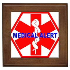 MEDICAL ALERT HEALTH IDENTIFICATION SIGN Framed Ceramic Tile