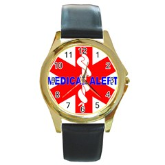 MEDICAL ALERT HEALTH IDENTIFICATION SIGN Round Metal Watch (Gold Rim)