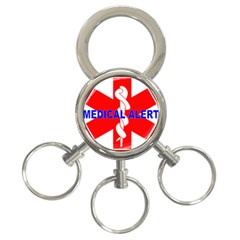 MEDICAL ALERT HEALTH IDENTIFICATION SIGN 3-Ring Key Chain