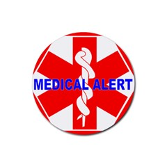 MEDICAL ALERT HEALTH IDENTIFICATION SIGN Drink Coasters 4 Pack (Round)
