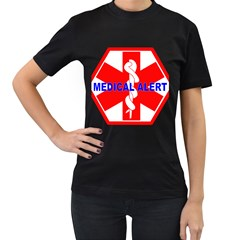 MEDICAL ALERT HEALTH IDENTIFICATION SIGN Womens' Two Sided T-shirt (Black)