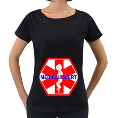 MEDICAL ALERT HEALTH IDENTIFICATION SIGN Womens' Maternity T-shirt (Black)