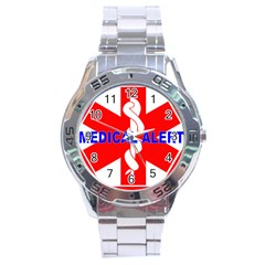 MEDICAL ALERT HEALTH IDENTIFICATION SIGN Stainless Steel Watch (Men s)