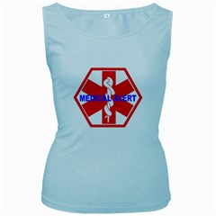 MEDICAL ALERT HEALTH IDENTIFICATION SIGN Womens  Tank Top (Baby Blue)