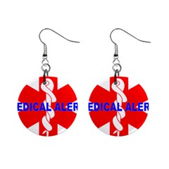 MEDICAL ALERT HEALTH IDENTIFICATION SIGN Mini Button Earrings
