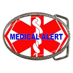 MEDICAL ALERT HEALTH IDENTIFICATION SIGN Belt Buckle (Oval)