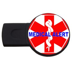 MEDICAL ALERT HEALTH IDENTIFICATION SIGN 2GB USB Flash Drive (Round)