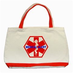 Medical Alert Health Identification Sign Classic Tote Bag (red)