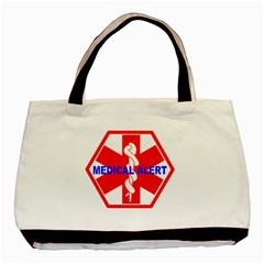 MEDICAL ALERT HEALTH IDENTIFICATION SIGN Twin-sided Black Tote Bag