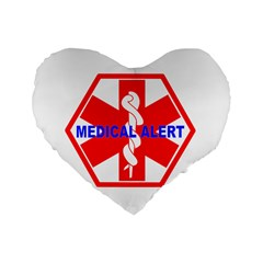 MEDICAL ALERT HEALTH IDENTIFICATION SIGN 16  Premium Heart Shape Cushion