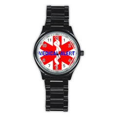 MEDICAL ALERT HEALTH IDENTIFICATION SIGN Sport Metal Watch (Black)