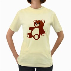 TEDDY BEAR TOY   Womens  T-shirt (Yellow)