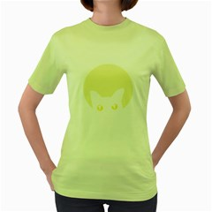 CAT FELINE HEAD Womens  T-shirt (Green)