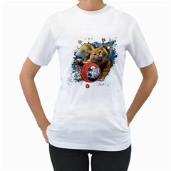 Kitty s Got The World In Her Paws Womens  T Shirt (white)