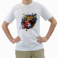 Kitty s Got The World In Her Paws Mens  T Shirt (white)