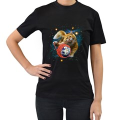 Kitty s got the world in her paws Womens' Two Sided T-shirt (Black)