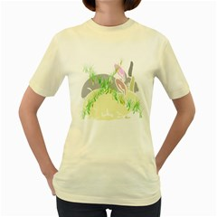 NO RABBITS AND  BUNNYS AROUND   Womens  T-shirt (Yellow)