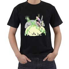 NO RABBITS AND  BUNNYS AROUND  Mens' Two Sided T-shirt (Black)