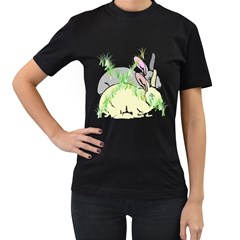 No Rabbits And  Bunnys Around  Womens' Two Sided T Shirt (black)