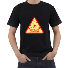 Not Safe Anywhere Mens' Two Sided T-shirt (Black)