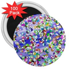 Ying Yang 3  Button Magnet (100 pack)
