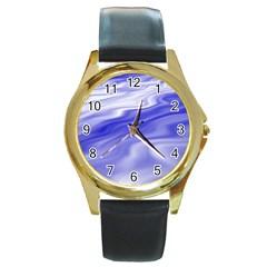 Wave Round Metal Watch (Gold Rim)