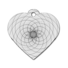 Spirograph Dog Tag Heart (One Sided)