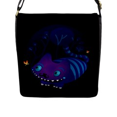 Cheshire mustache cat Flap Closure Messenger Bag (Large)