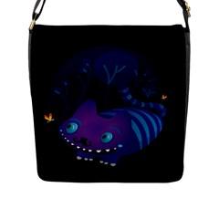 Cheshire Mustache Cat Flap Closure Messenger Bag (large)