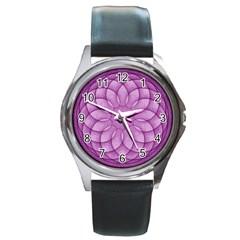 Spirograph Round Metal Watch (Silver Rim)