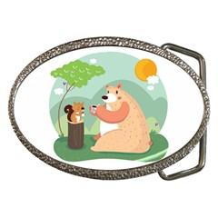 Tea Time Belt Buckle (oval)