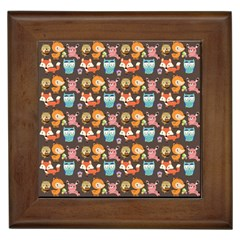 Woodland animals Framed Ceramic Tile
