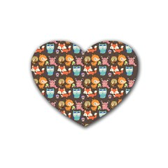 Woodland animals Drink Coasters 4 Pack (Heart)