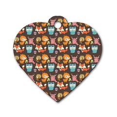 Woodland Animals Dog Tag Heart (two Sided)