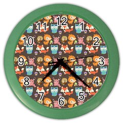 Woodland animals Wall Clock (Color)