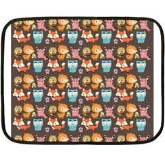 Woodland animals Mini Fleece Blanket (Two Sided)