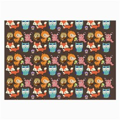Woodland Animals Glasses Cloth (large, Two Sided)