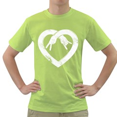 Peace Love And Rock N Roll Mens  T Shirt (green)