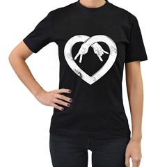 Peace Love And Rock N Roll Womens' Two Sided T Shirt (black)