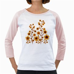 Sunflower Cheers Women s Long Cap Sleeve T Shirt (white)
