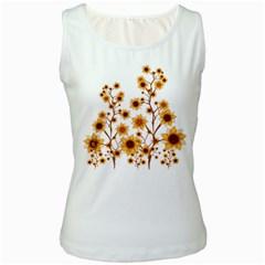 Sunflower Cheers Womens  Tank Top (White)