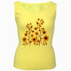 Sunflower Cheers Womens  Tank Top (Yellow)