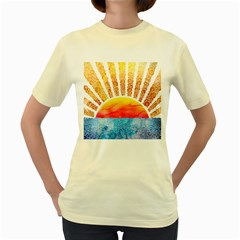 Beyond The Clouds  Womens  T Shirt (yellow)