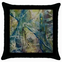 Water Lily Black Throw Pillow Case