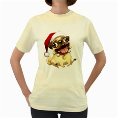 Pug  Womens  T Shirt (yellow)