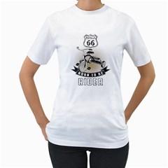 born to be rider Womens  T-shirt (White)