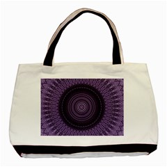 Mandala Twin Sided Black Tote Bag