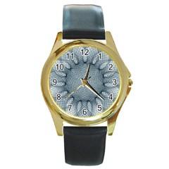 Mandala Round Metal Watch (Gold Rim)