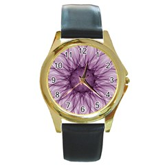 Mandala Round Metal Watch (Gold Rim)